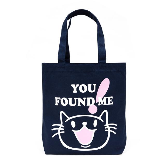 トートバッグ 猫 FOUND ME - ネイビー ネコ ねこ 猫柄 雑貨 キャンバス バッグ SCOPY スコーピー