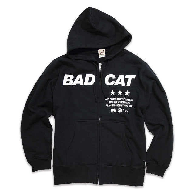 パーカー メンズ レディース 猫 BAD CAT - ブラック ネコ ねこ 猫柄 雑貨 SCOPY スコーピー