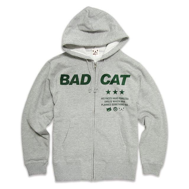 パーカー メンズ レディース 猫 BAD CAT - グレー ネコ ねこ 猫柄 雑貨 SCOPY スコーピー