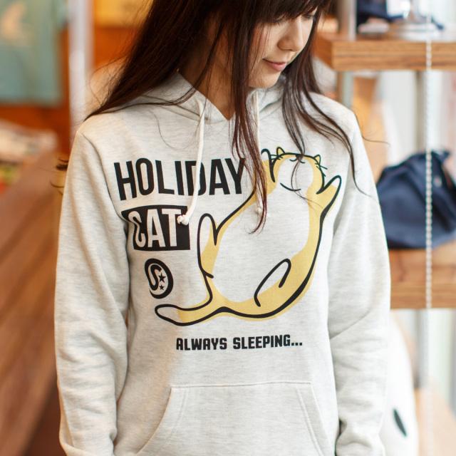パーカー メンズ レディース 猫 HOLIDAY CAT - オートミール ネコ ねこ 猫柄 雑貨 SCOPY スコーピー