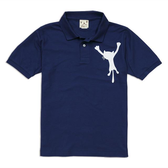 ポロシャツ メンズ レディース 半袖 猫 DANGLING CAT ネコ ねこ 猫柄 雑貨 SCOPY スコーピー