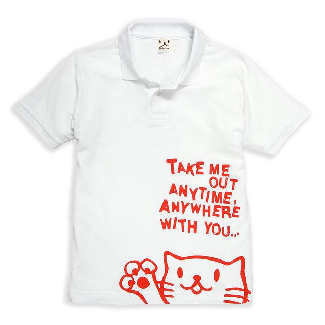 ポロシャツ メンズ レディース 半袖 猫 Griper - ホワイト ネコ ねこ 猫柄 雑貨 SCOPY スコーピー