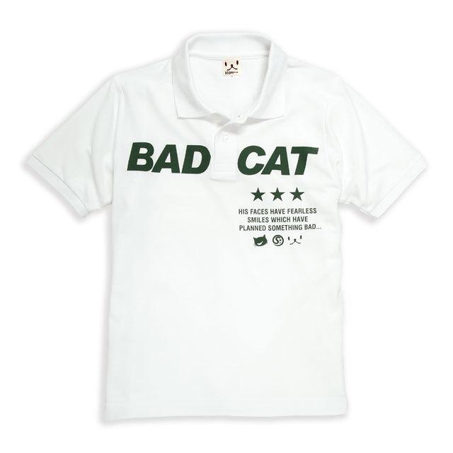 ポロシャツ メンズ レディース 半袖 猫 BAD CAT - ホワイト ネコ ねこ 猫柄 雑貨 SCOPY スコーピー