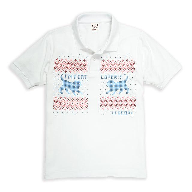ポロシャツ メンズ レディース 半袖 猫 .NORDIC.CAT - ホワイト ネコ ねこ 猫柄 雑貨 SCOPY スコーピー