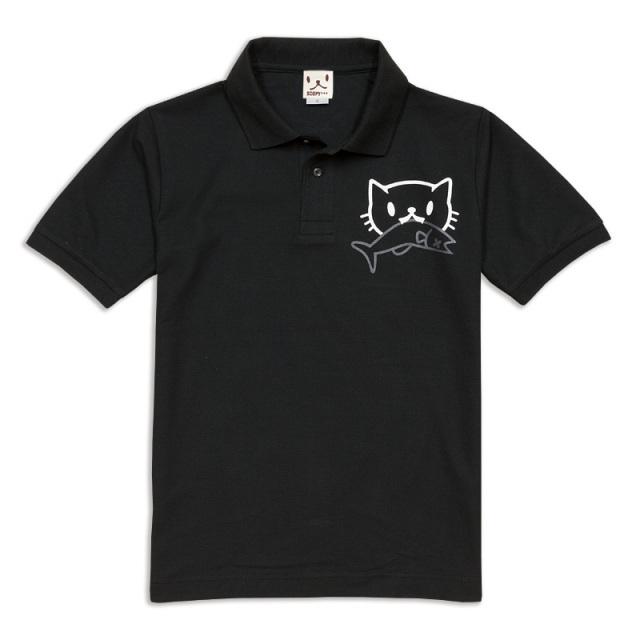 ポロシャツ メンズ レディース 半袖 猫 お魚くわえたどらねこさん - ブラック ネコ ねこ 猫柄 雑貨 SCOPY スコーピー