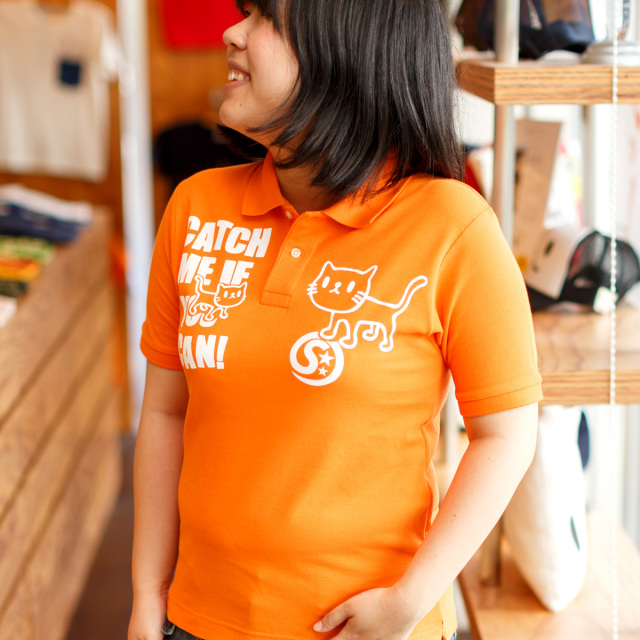 ポロシャツ メンズ レディース 半袖 猫 GOTCHA - オレンジ ネコ ねこ 猫柄 雑貨 SCOPY スコーピー