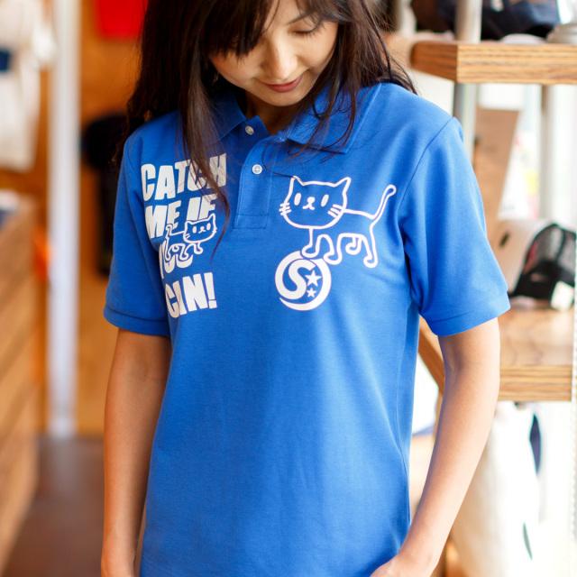 ポロシャツ メンズ レディース 半袖 猫 GOTCHA - ロイヤルブルー ネコ ねこ 猫柄 雑貨 SCOPY スコーピー