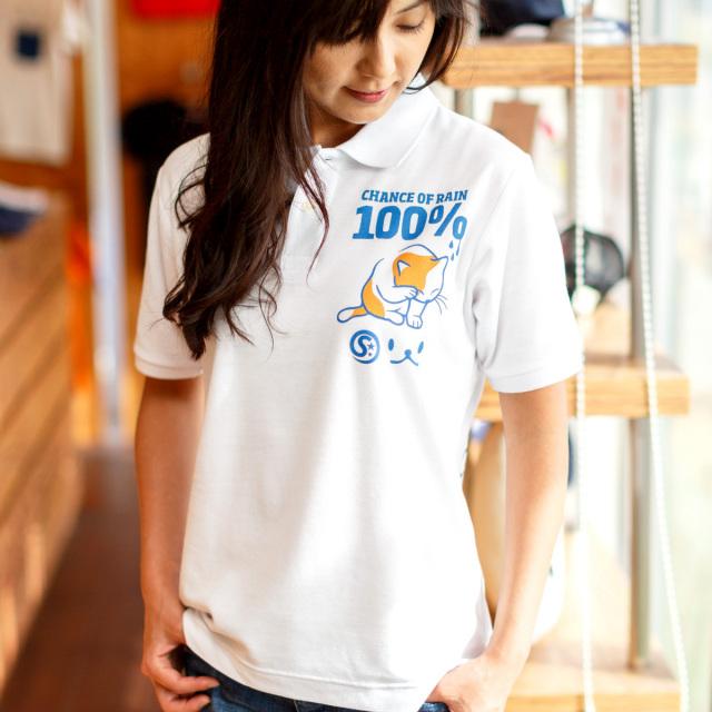 ポロシャツ メンズ レディース 半袖 猫 RAIN 100% - ホワイト ネコ ねこ 猫柄 雑貨 SCOPY スコーピー