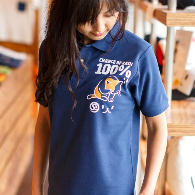 ポロシャツ メンズ レディース 半袖 猫 RAIN 100% - インディゴ ネコ ねこ 猫柄 雑貨 SCOPY スコーピー