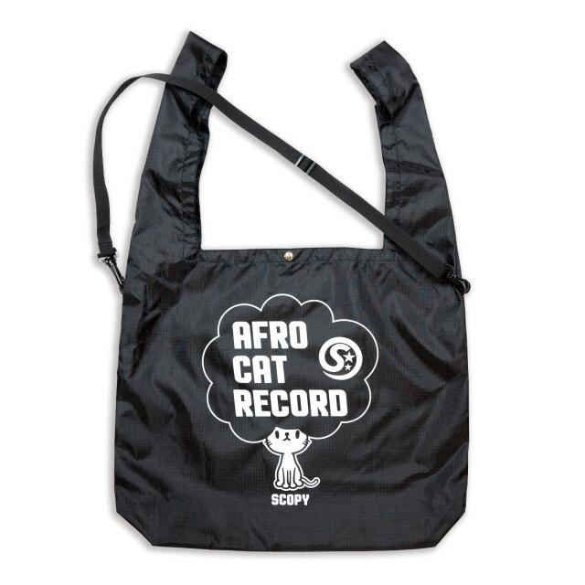 マルシェ エコバッグ 猫 AFRO CAT RECORD - ブラック おもしろ ネコ ねこ 猫柄 雑貨 SCOPY スコーピー