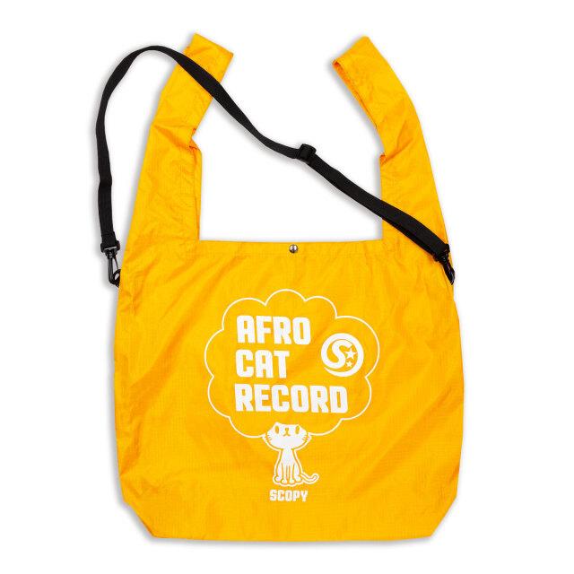 マルシェ エコバッグ 猫 AFRO CAT RECORD - オレンジ おもしろ ネコ ねこ 猫柄 雑貨 SCOPY スコーピー