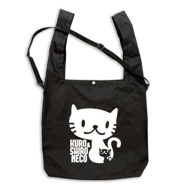 マルシェ エコバッグ 猫 しろ&くろねこさん - ブラック おもしろ ネコ ねこ 猫柄 雑貨 SCOPY スコーピー