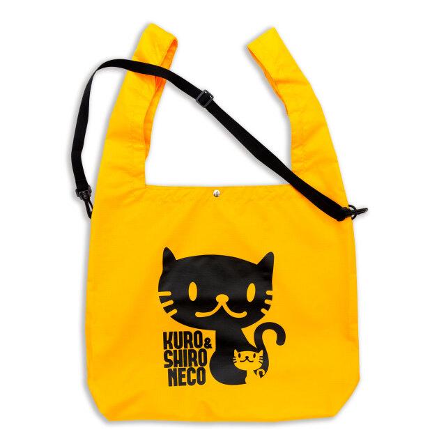 マルシェ エコバッグ 猫 しろ&くろねこさん - オレンジ おもしろ ネコ ねこ 猫柄 雑貨 SCOPY スコーピー