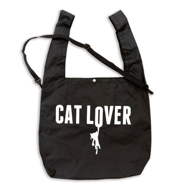 マルシェ エコバッグ 猫 CAT LOVER - ブラック おもしろ ネコ ねこ 猫柄 雑貨 SCOPY スコーピー