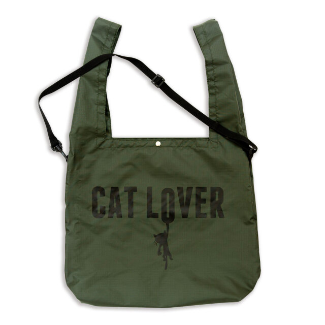 マルシェ エコバッグ 猫 CAT LOVER - オリーブ おもしろ ネコ ねこ 猫柄 雑貨 SCOPY スコーピー