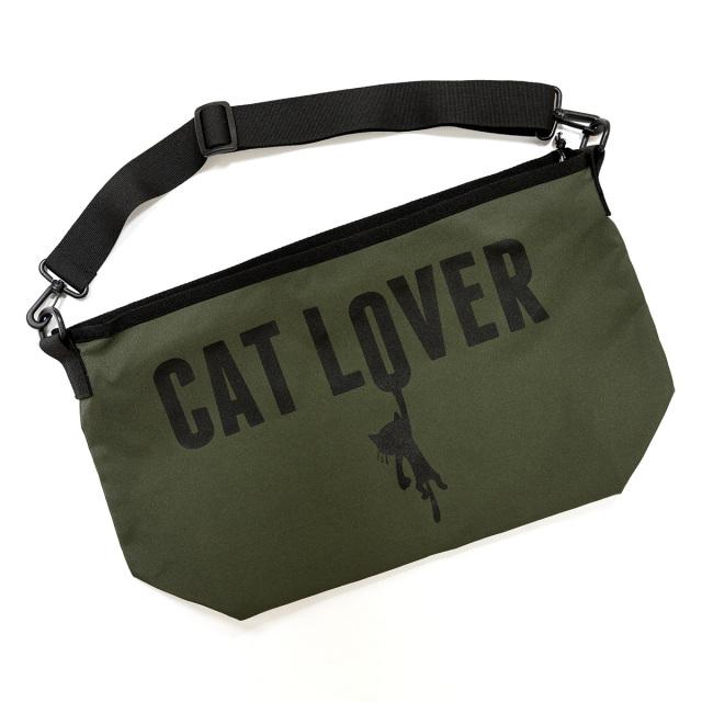 メッセンジャーバッグ 猫 CAT LOVER ( オリーブ ) ネコ ねこ 猫柄 雑貨 ナイロン バッグ SCOPY スコーピー