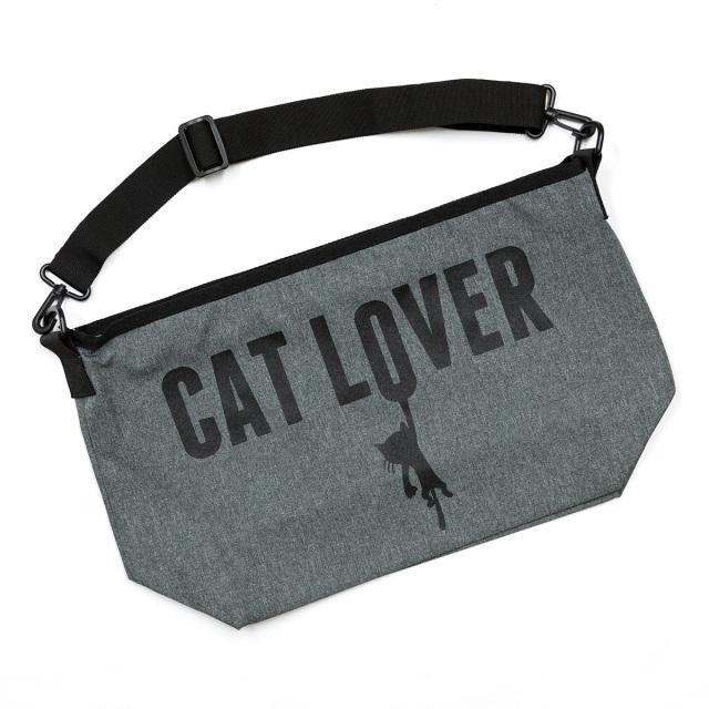 メッセンジャーバッグ 猫 CAT LOVER ( ヘザーチャコール ) ネコ ねこ 猫柄 雑貨 ナイロン バッグ SCOPY スコーピー