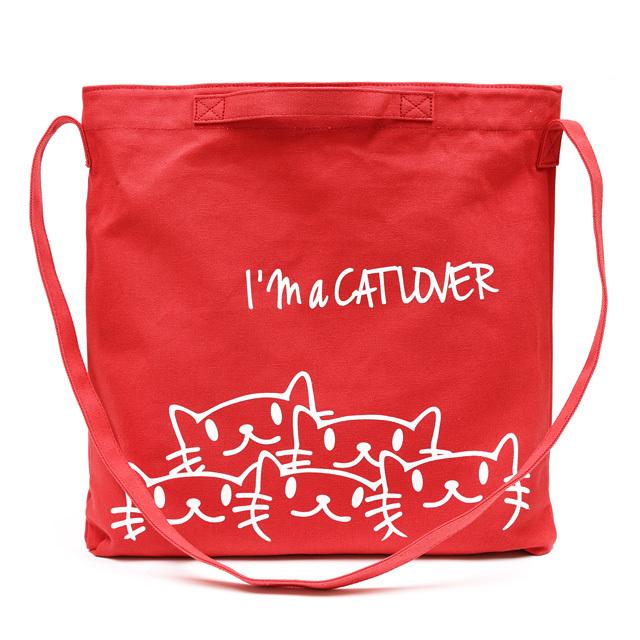 2WAY ショルダーバッグ 猫 NECODARAKE - フレンチレッド ネコ ねこ 猫柄 雑貨 サコッシュ バッグ SCOPY スコーピー