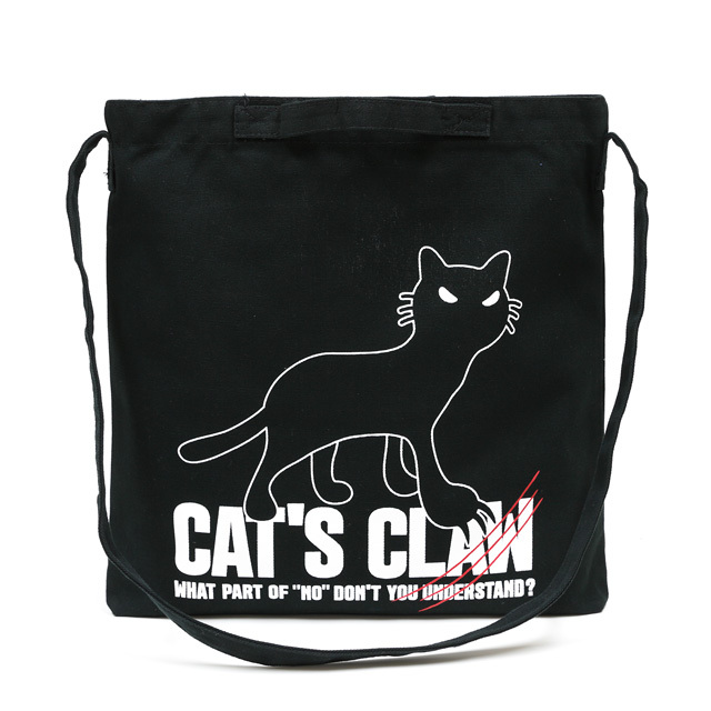 2WAY ショルダーバッグ 猫 CAT'S CLAW - ブラック ネコ ねこ 猫柄 雑貨 サコッシュ バッグ SCOPY スコーピー