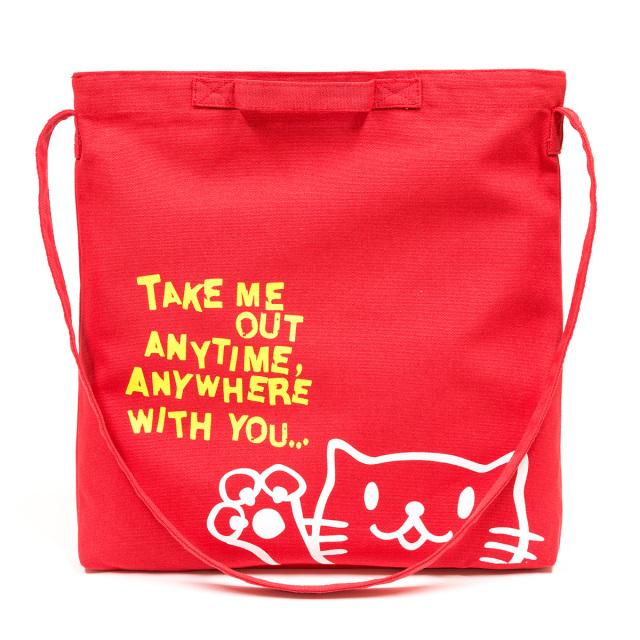 2WAY ショルダーバッグ 猫 Griper - フレンチレッド ネコ ねこ 猫柄 雑貨 サコッシュ バッグ SCOPY スコーピー
