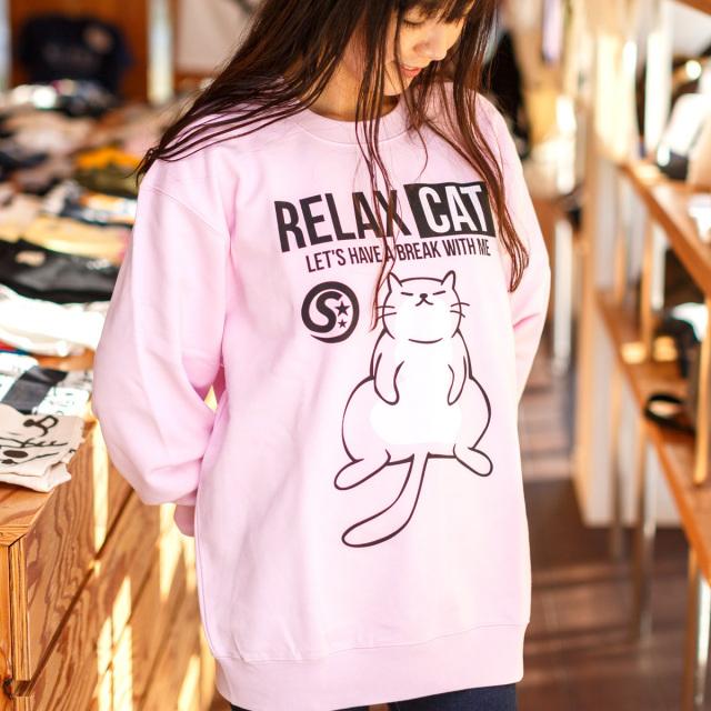 長袖 トレーナー メンズ レディース 猫 RELAX CAT - ライトピンク ネコ ねこ 猫柄 雑貨 SCOPY スコーピー