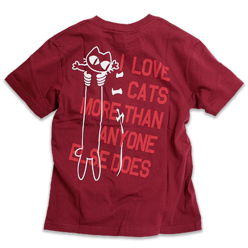 Tシャツ メンズ レディース 半袖 猫 LOVE CAT - PK Ver - ワインレッド ネコ ねこ 猫柄 雑貨 SCOPY スコーピー