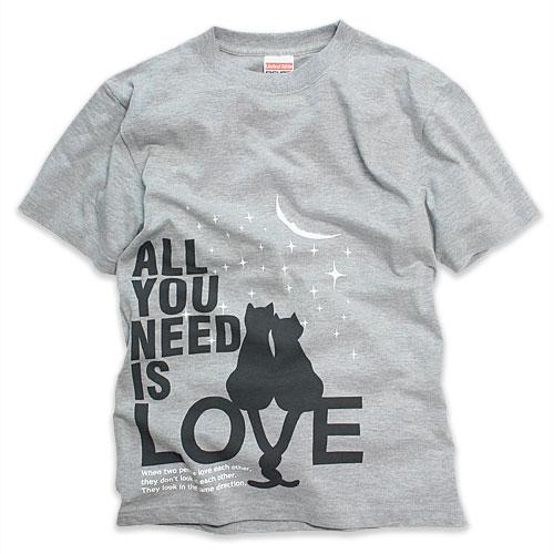 Tシャツ メンズ レディース 半袖 猫 ALL YOU NEED IS LOVE - グレー ネコ ねこ 猫柄 雑貨 SCOPY スコーピー