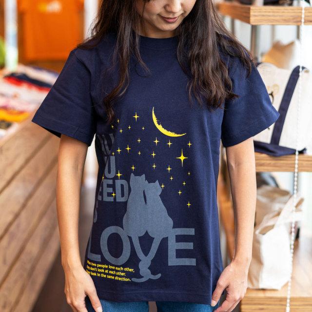 Tシャツ メンズ レディース 半袖 猫 ALL YOU NEED IS LOVE - ネイビー ネコ ねこ 猫柄 雑貨 SCOPY スコーピー
