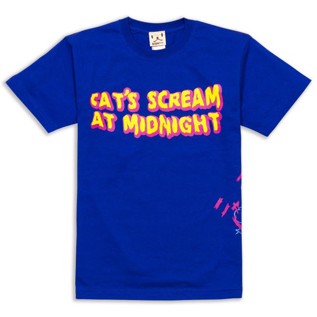 Tシャツ メンズ レディース 半袖 猫 CAT'S SCREAM - ロイヤルブルー ネコ ねこ 猫柄 雑貨 SCOPY スコーピー