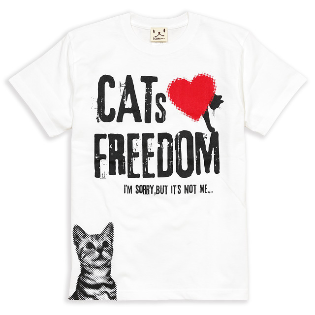 Tシャツ メンズ レディース 半袖 猫 FREEDOM - ホワイト ネコ ねこ 猫柄 雑貨 SCOPY スコーピー
