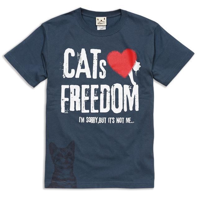 Tシャツ メンズ レディース 半袖 猫 FREEDOM - デニム ネコ ねこ 猫柄 雑貨 SCOPY スコーピー