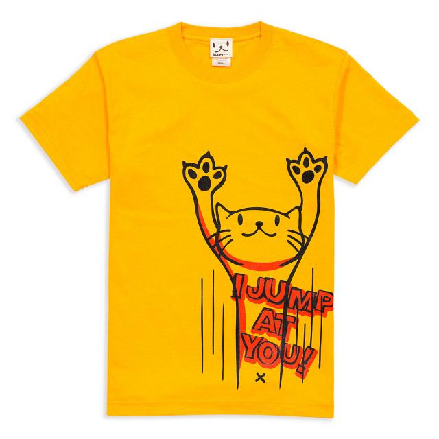 Tシャツ メンズ レディース 半袖 猫 JUMP - ゴールドイエロー ネコ ねこ 猫柄 雑貨 SCOPY スコーピー