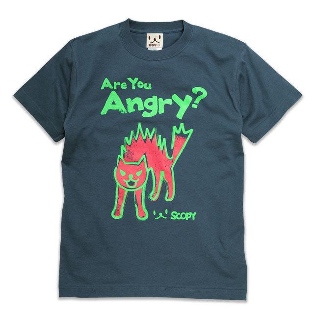 Tシャツ メンズ レディース 半袖 猫 Are you angry? - デニム ネコ ねこ 猫柄 雑貨 SCOPY スコーピー