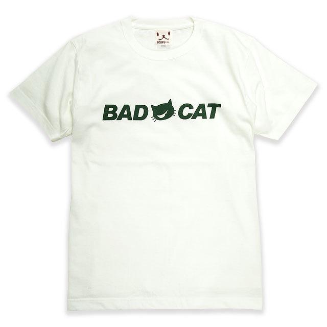 Tシャツ メンズ レディース 半袖 猫 BAD CAT - オフホワイト ネコ ねこ 猫柄 雑貨 SCOPY スコーピー