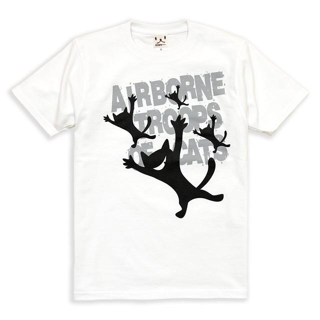 Tシャツ メンズ レディース 半袖 猫 AIRBORNE TROOPS - ホワイト ネコ ねこ 猫柄 雑貨 SCOPY スコーピー