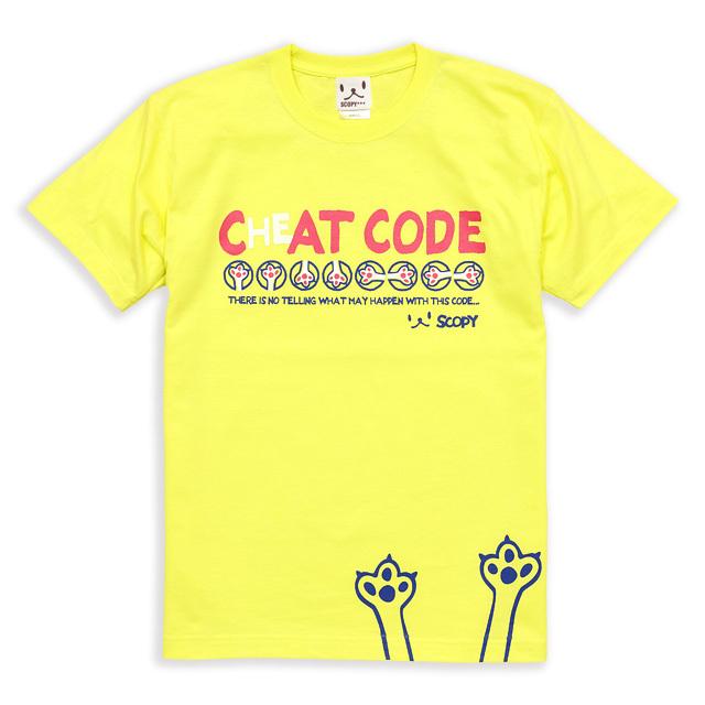 Tシャツ メンズ レディース 半袖 猫 CAT CODE - レモンイエロー ネコ ねこ 猫柄 雑貨 SCOPY スコーピー
