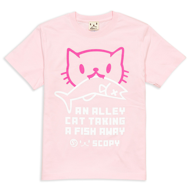 Tシャツ メンズ レディース 半袖 猫 お魚くわえたどらねこさん - ライトピンク ネコ ねこ 猫柄 雑貨 SCOPY スコーピー