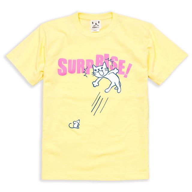 Tシャツ メンズ レディース 半袖 猫 SURPRISE! - クリーム ネコ ねこ 猫柄 雑貨 SCOPY スコーピー