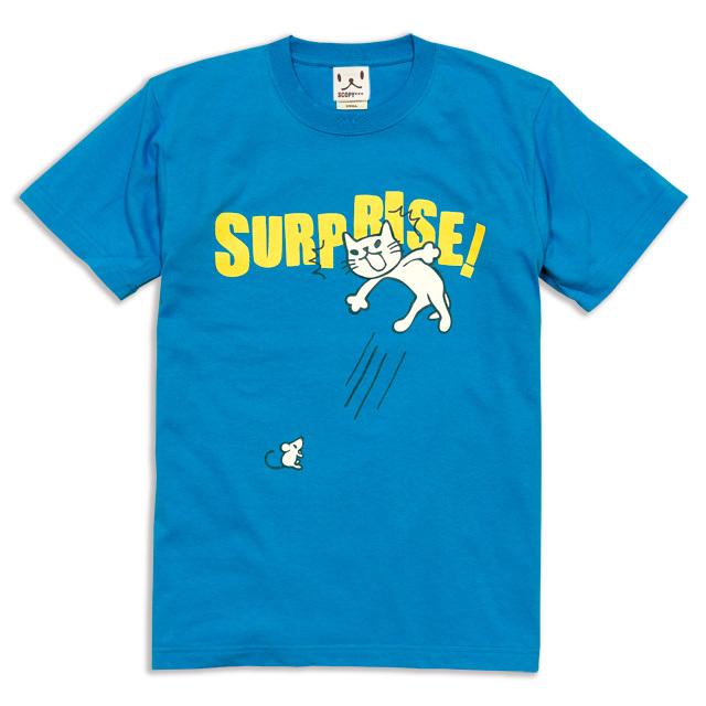 Tシャツ メンズ レディース 半袖 猫 SURPRISE! - ブルー ネコ ねこ 猫柄 雑貨 SCOPY スコーピー