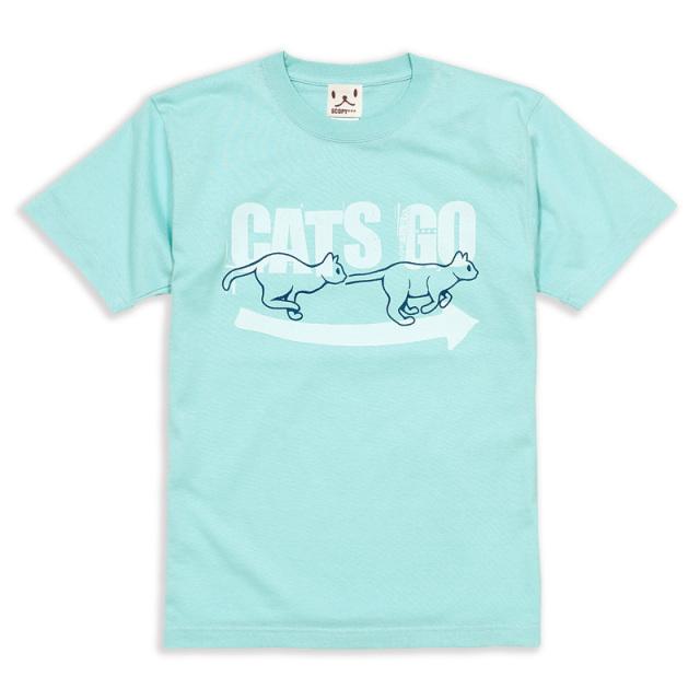 Tシャツ メンズ レディース 半袖 猫 CATS GO AROUND - セージブルー ネコ ねこ 猫柄 雑貨 SCOPY スコーピー