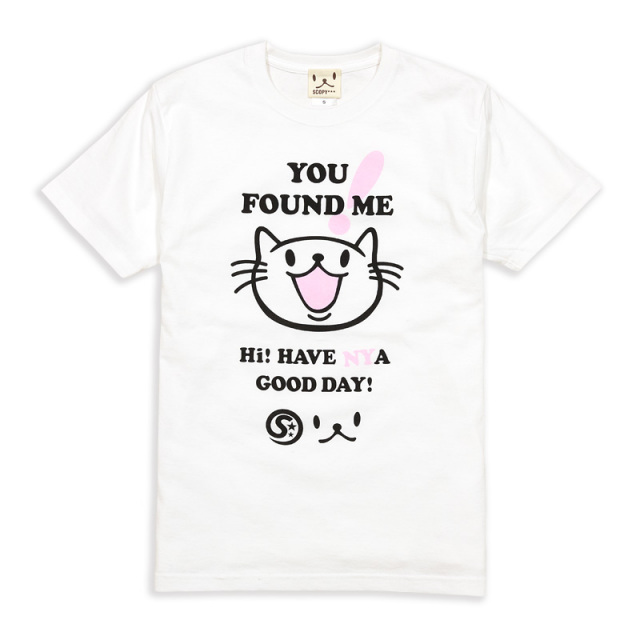 Tシャツ メンズ レディース 半袖 猫 FOUND ME - ホワイト ネコ ねこ 猫柄 雑貨 SCOPY スコーピー