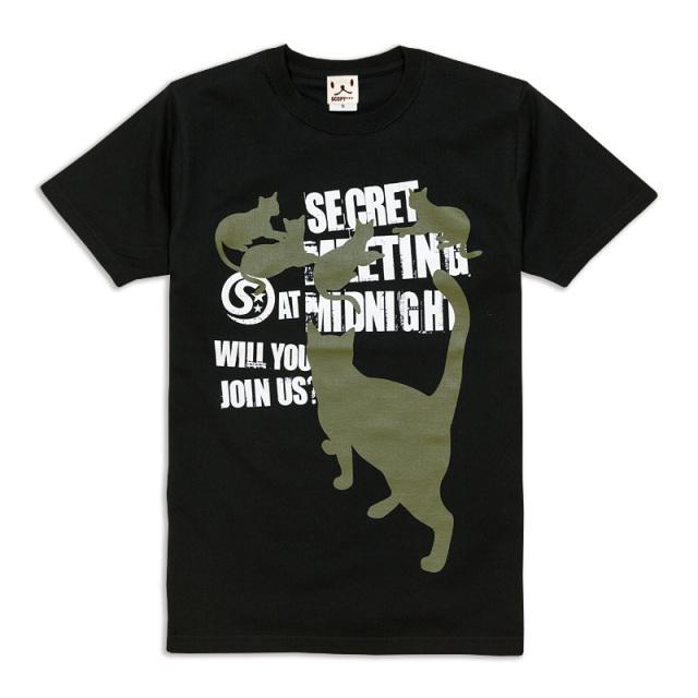 Tシャツ メンズ レディース 半袖 猫 SECRET MEETING - ブラック ネコ ねこ 猫柄 雑貨 SCOPY スコーピー