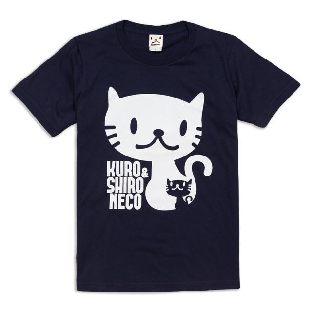 Tシャツ メンズ レディース 半袖 猫 しろ&くろねこさん - ネイビー ネコ ねこ 猫柄 雑貨 SCOPY スコーピー