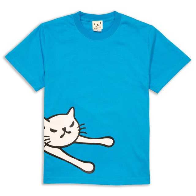 Tシャツ メンズ レディース 半袖 猫 LAZY CAT - ターコイズ ネコ ねこ 猫柄 雑貨 SCOPY スコーピー