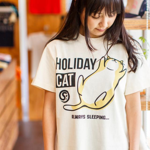 Tシャツ メンズ レディース 半袖 猫 HOLIDAY CAT - ナチュラル ネコ ねこ 猫柄 雑貨 SCOPY スコーピー