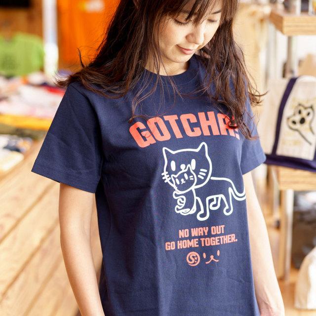 Tシャツ メンズ レディース 半袖 猫 GOTCHA - ネイビー ネコ ねこ 猫柄 雑貨 SCOPY スコーピー