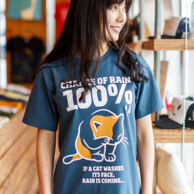 Tシャツ メンズ レディース 半袖 猫 RAIN 100% - デニム ネコ ねこ 猫柄 雑貨 SCOPY スコーピー