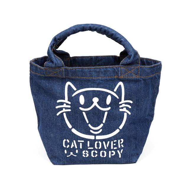 トートバッグ ミニトートバッグ 猫 CAT LOVER - デニム ネコ ねこ 猫柄 雑貨 ランチバッグ SCOPY スコーピー