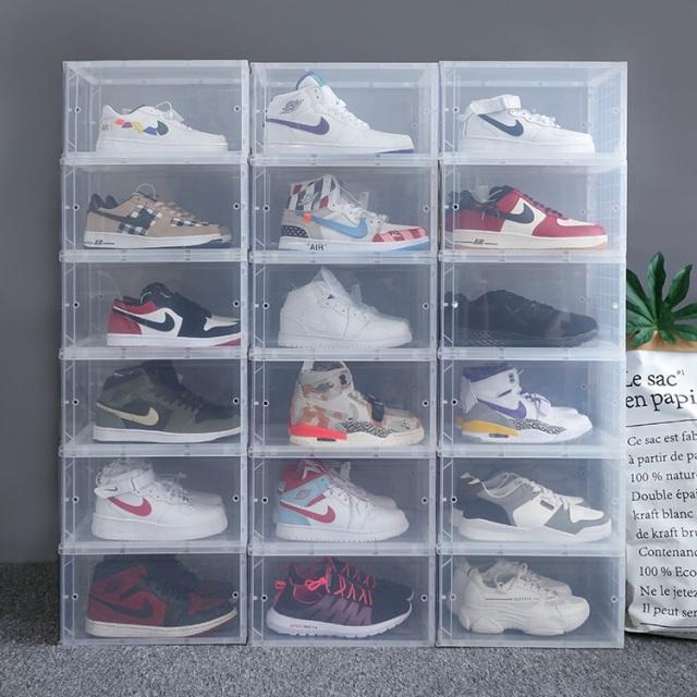 お得!スニーカーコレクター愛用クリアケースSHOES BOX(組み立て式)6個セット