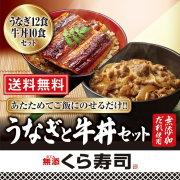 うなぎの蒲焼12食と牛丼の具10食セット